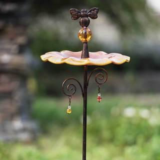 Sunjoy Glasss Amber Bird Feeder Garden Stake