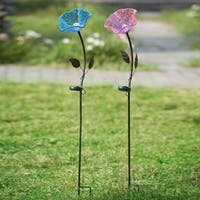 Sunjoy Flower Garden Stake with LED Solar Technology-inch Purple and Blue Set of 2, 40 Inches