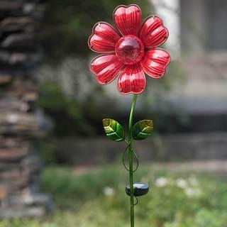 Sunjoy Glass Red Flower Garden Stake