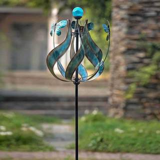 Sunjoy Kinetic Spinning Solar Metal Wind Catcher-inch Blue, 83 Inches