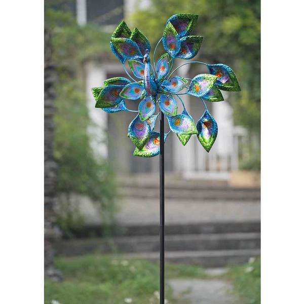 Shop Sunjoy Peacock Kinetic Spinner Metal And Blue Glass