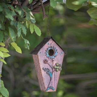 Sunjoy 23 Inch Wood Birdhouse Hand Painted With Flowers-inch Dusty Rose