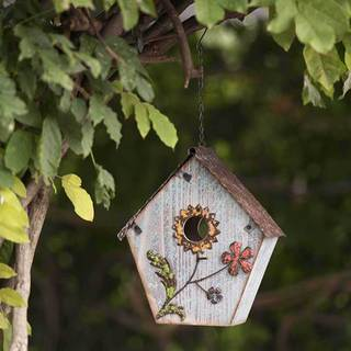 Sunjoy 21.5 Inch Wood Birdhouse Hand Painted With Flowers-inch Dusty Blue