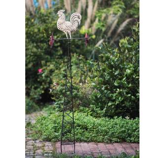 Sunjoy Rustic Rooster Weathervane Garden Stake Made of Iron with Antique Finish, 59 Inches