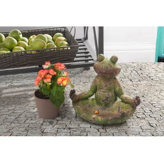 Sunjoy Small Frog Garden Statue-inch Lotus Position, Resin with Rustic Green Finish, 12-inch