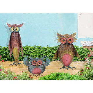 Sunjoy Set of 3 Owls Garden Statue, Hand Painted Metal, 12-inch, 9-inch, 18-inch