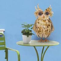 Sunjoy Friendly Owl 22-inch Painted Metal Garden Statue - Multi