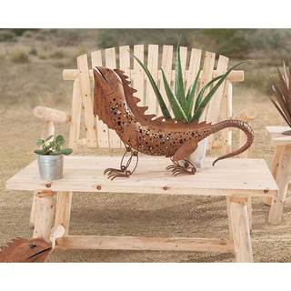 Sunjoy 30-inch Lizard Garden Statue, Metal with Rust Finish