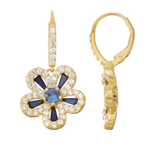 Gioelli Goldplated Silver Blue and White Sapphire Floral Leverback Earrings