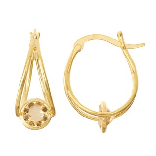 Gioelli Goldplated Silver Citrine Swing Earrings
