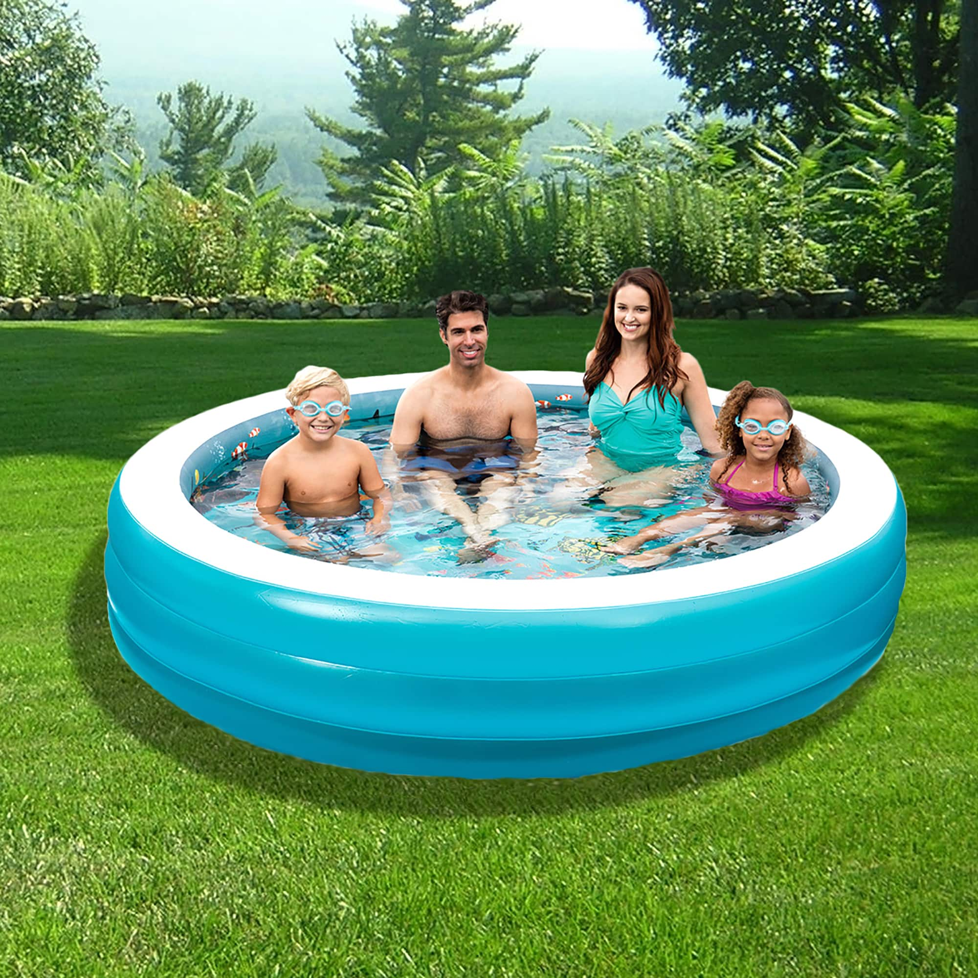 Blue Wave 3D Inflatable 7.5-ft Round Family Pool (Inflata...