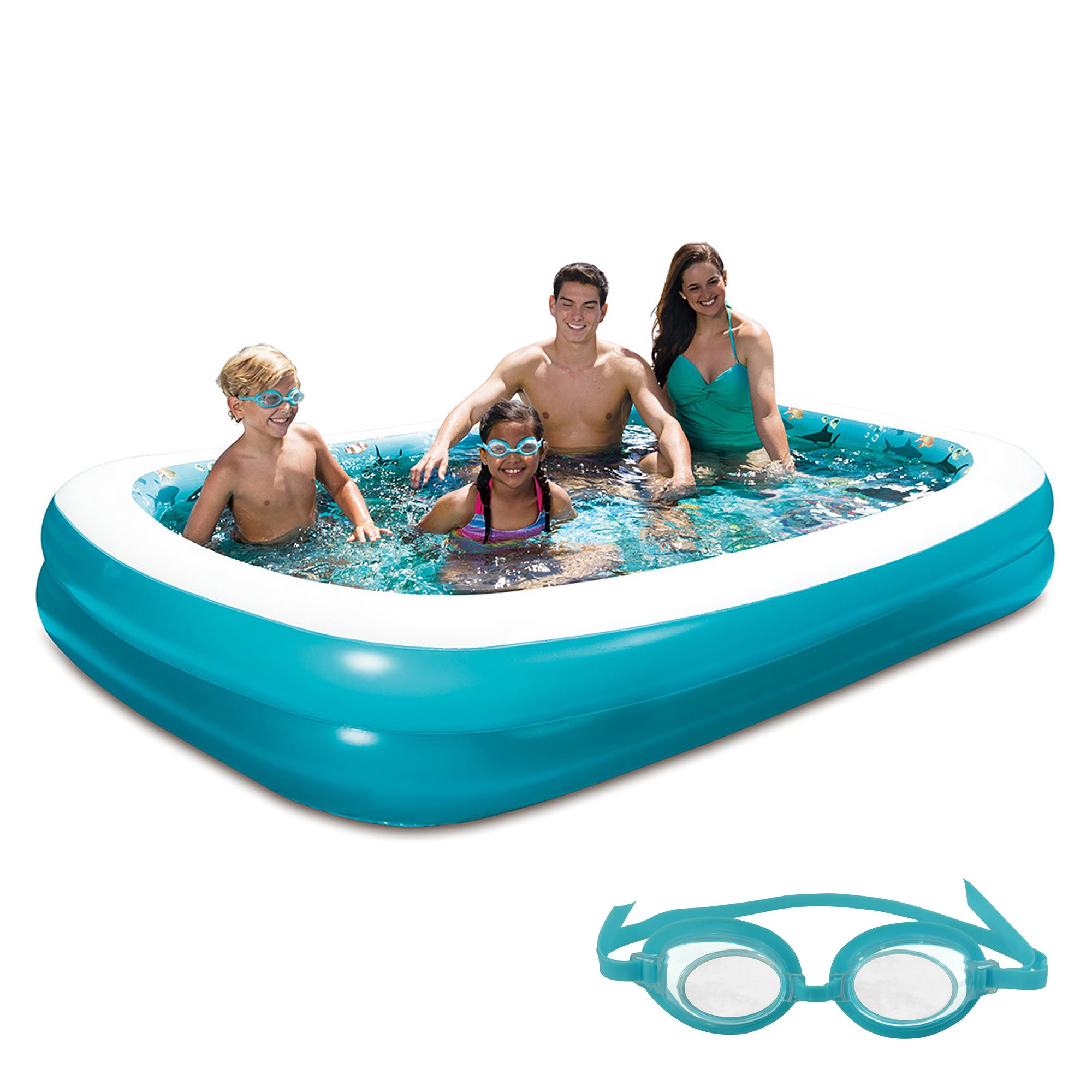 Blue Wave 3D Inflatable Rectangular Family Pool (Blue) - ...