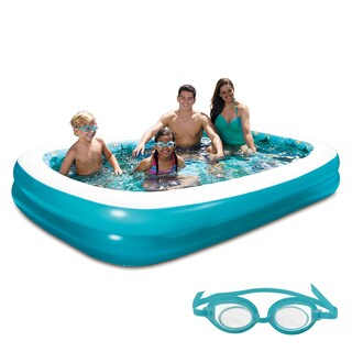 3D Inflatable Rectangular Family Pool   103 In X 69 In
