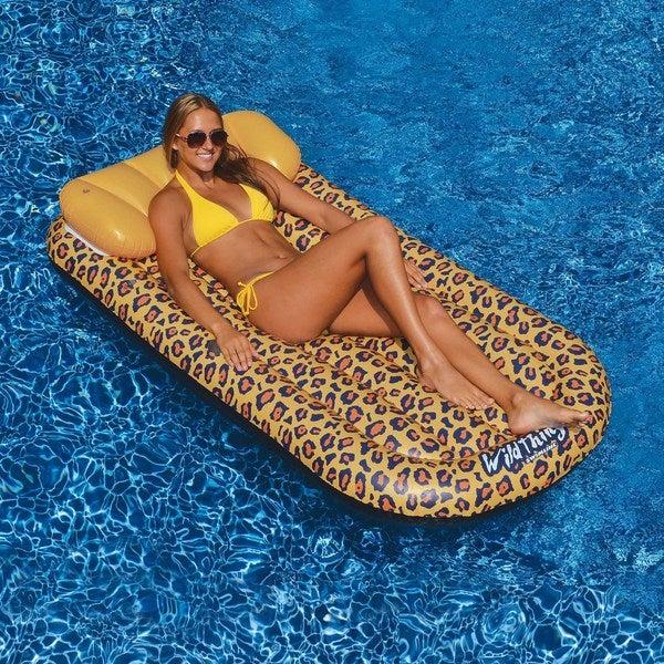 Wildthings Cheetah Lounge 69-in x 35-in Floating Pool Mattress