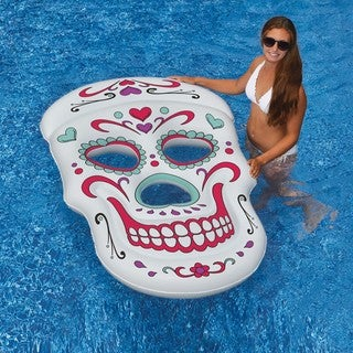 Sugar Skull 62-in x 40-in Inflatable Pool Float