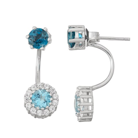 Gioelli Sterling Silver London Blue Topaz Front and White Sapphire to Back Earrings