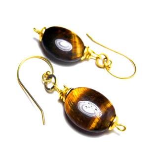 Onyx TigerEye Raw Brass Earrings