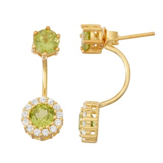 Gioelli Goldplated Peridot and White Sapphire Front to Back Earrings