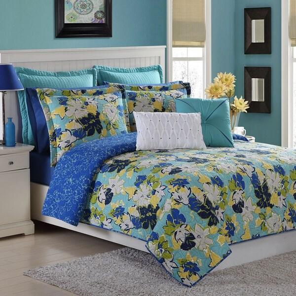 Lapis Blue Sedona Cotton 3-piece Quilt Set by Fiesta