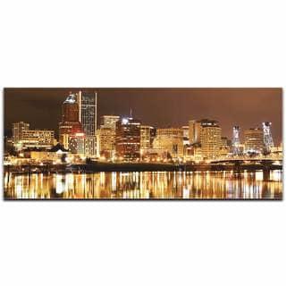 Modern Crowd 'Portland City Skyline' Urban Cityscape Enhanced Photo Print on Metal or Acrylic