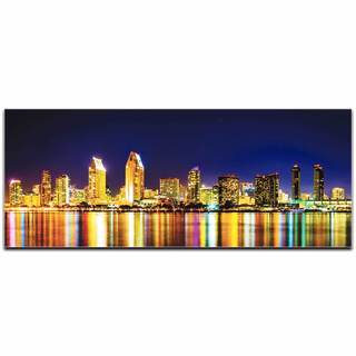 Modern Crowd 'San Diego at Night City Skyline' Urban Cityscape Enhanced Photo Print on Metal or Acrylic
