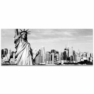 Modern Crowd 'New York Black and White City Skyline' Urban Cityscape Enhanced Photo Print on Metal or Acrylic