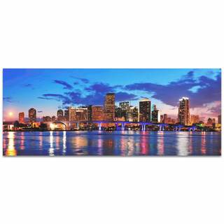 Modern Crowd 'Miami City Skyline' Urban Cityscape Enhanced Photo Print on Metal or Acrylic
