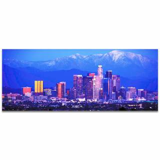 Modern Crowd 'Los Angeles City Skyline' Urban Cityscape Enhanced Photo Print on Metal or Acrylic