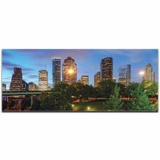 Modern Crowd 'Houston City Skyline' Urban Cityscape Enhanced Photo Print on Metal or Acrylic