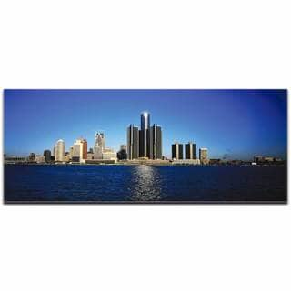Modern Crowd 'Detroit City Skyline' Urban Cityscape Enhanced Photo Print on Metal or Acrylic