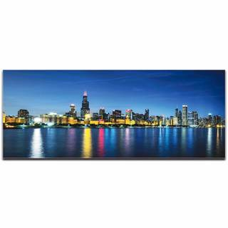 Modern Crowd 'Chicago City Skyline' Urban Cityscape Enhanced Photo Print on Metal or Acrylic