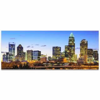 Modern Crowd 'Charlotte City Skyline' Urban Cityscape Enhanced Photo Print on Metal or Acrylic
