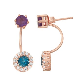 Gioelli Rose Goldplated London Blue Topaz, Amethyst and White Sapphire Front to Back Earrings