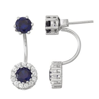 Gioelli Sterling Silver Sapphire and White Sapphire Front to Back Earrings