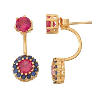 Gioelli Goldplated Ruby and Sapphire Front to Back Earrings