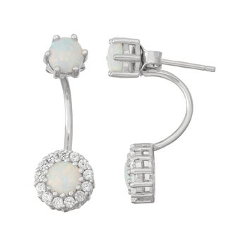 Gioelli Sterling Silver Opal and White Sapphire Front to Back Earrings