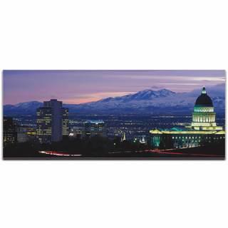 Modern Crowd 'Salt Lake City City Skyline' Urban Cityscape Enhanced Photo Print on Metal or Acrylic