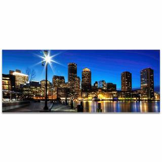 Modern Crowd 'Boston at Night City Skyline' Urban Cityscape Enhanced Photo Print on Metal or Acrylic
