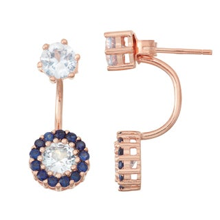 Gioelli Rose Goldplated Aqua and Sapphire Front to Back Earrings