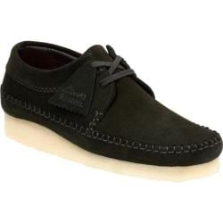 Men's Clarks Weaver Moc Toe Shoe Black Suede