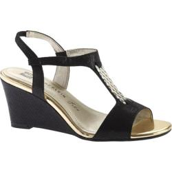 Women's Anne Klein Emanie Wedge Sandal Black Fabric