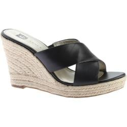 Women's Anne Klein Waleigh Espadrille Slide Black Leather