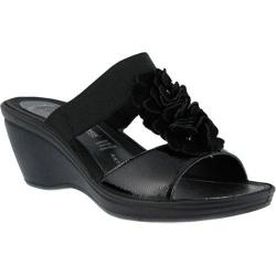 Women's Flexus by Spring Step Gather Wedge Slide Sandal Black Leather