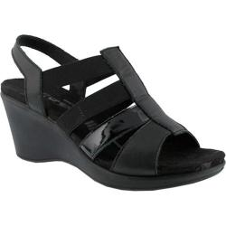 Women's Flexus by Spring Step Monnie Slingback Wedge Sandal Black Leather