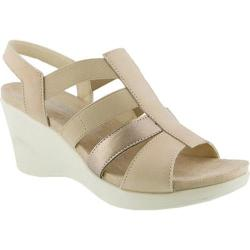 Women's Flexus by Spring Step Monnie Slingback Wedge Sandal Soft Gold Leather