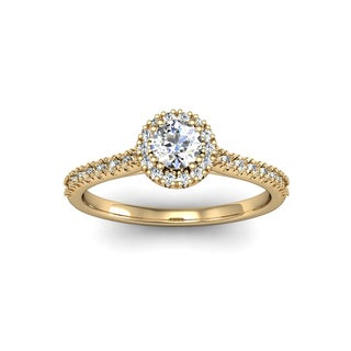 14k Yellow Gold 1/2ct. Perfect. Halo Diamond Enagagement Ring with 1/4ct. Clarity Enhanced Center Di
