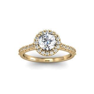 14k Yellow Gold 1ct TDW Perfect Halo Diamond Engagement Ring (H-I, I1-I2)