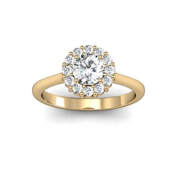 Yellow Gold Halo Diamond Elegant Solitaire Engagement: 14k Yellow Gold 1ct TDW Elegant Diamond Halo Engagement