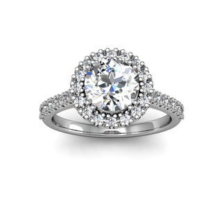 14k White Gold 2ct. Perfect. Halo Diamond Enagagement Ring with 1 1/2ct. Clarity Enhacned Center Dia - White H-I