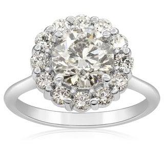 14k White Gold 2ct. Elegant Diamond Halo Engagement Ring with 1 1/2ct. Clarity Enhanced Center Diamo - White H-I